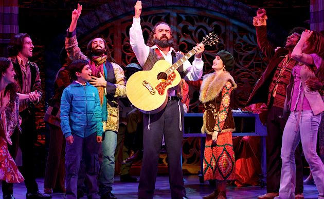 All Together Now: Eric Anderson, center, plays Shlomo Carlebach in the Broadway musical, ?Soul Doctor.?