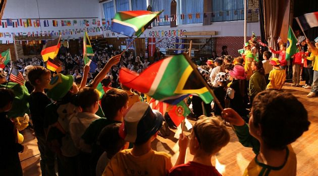 African Jews: South African Jewish children celebrate the soccer World Cup in 2010. The community survived apartheid and now is struggling to find its place in the new South Africa.