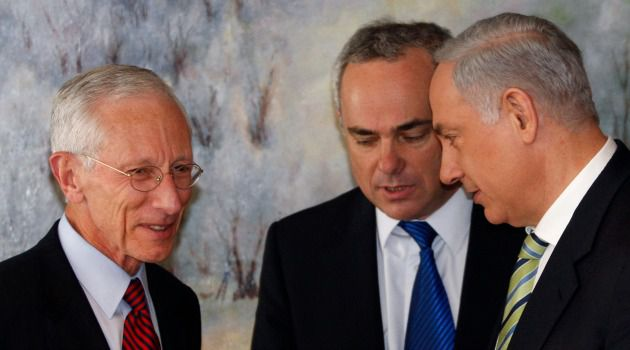 Dual National: In 2005, Benjamin Netanyahu chose Fischer (left) to head Israel's central bank.