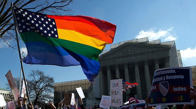 Yes and No: Protesters on both sides fo the gay marriage issue rallied outside the Supreme Court in Washington.