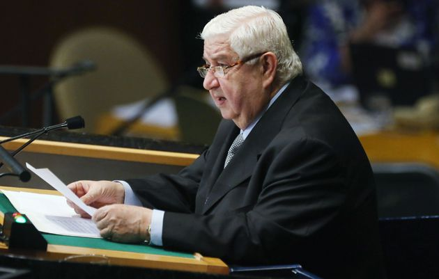 Syrian Foreign Minister Walid Moallem addresses the United Nations General Assembly on October 1, 2012.