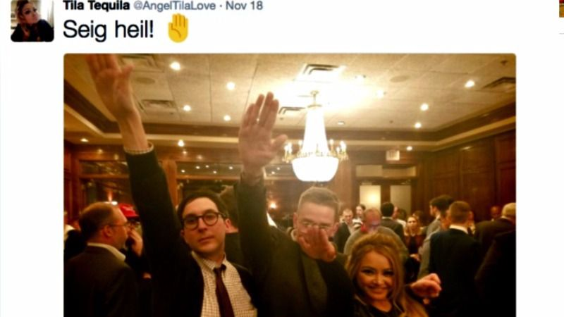Nazi-sympathizing reality TV personality Tila Tequila and friends at Maggiano's Little Italy in Chevy Chase, Maryland.