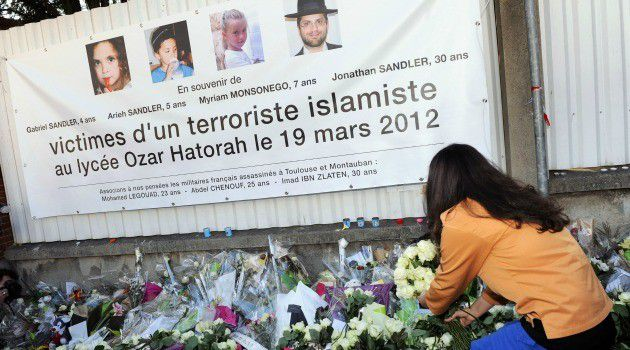 Makeshift memorial outside Jewish school in Toulouse after 2012 rampage.
