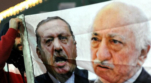 Point of Contention: Tayyip Erdogan (left) and Fethullah Gulen (right) pictured on a banner at a protest in Istanbul, December 2013. Once allies, they fell out over the blockade of Gaza.
