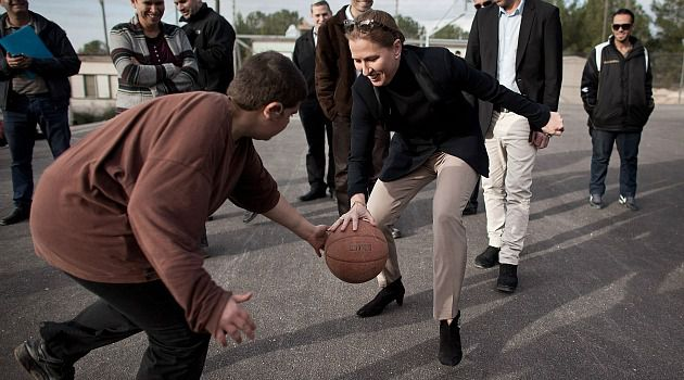 Take a Shot: Tzipi Livni dribbles a basketball on the Israeli campaign trail. Elections are a much more informal and low-budget affair in the Jewish state.