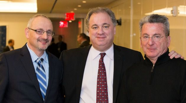 Mogul Rules: Joseph Hyman, president of the Center for Entrepreneurial Jewish Philanthropy, greets Noam Katz, left, minister of public diplomacy at the embassy of Israel, and donor Robert Wiener, right, at the recent Israel Summit.