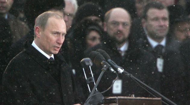 Not This Time: Vladimir Putin speaks at 2005 event marking 60th anniversary of liberation of Auschwitz.