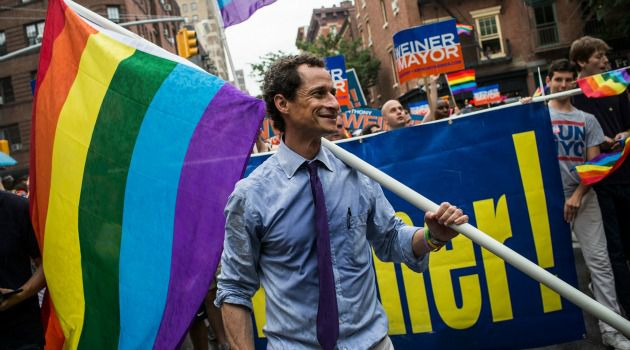 Frontrunner?: Anthony Weiner marches in New York?s gay pride parade. The only Jewish candidate in the mayor?s race is surging toward the top of the polls ? but is it just name recognition?