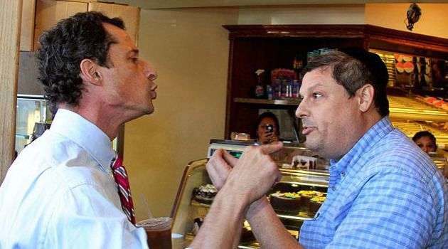New York Style: Anthony Weiner goes toe-to-toe with heckler who confronted him during a Brooklyn campaign stop. The candidate said the shouting match shows he?s not afraid to ?show emotion? when needed.