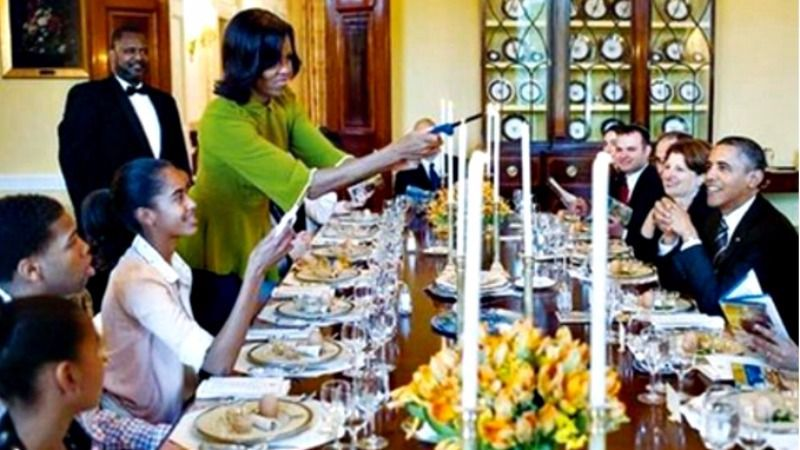 Former First Lady Michelle Obama lights the candles to kick of the White House Seder of 2012.