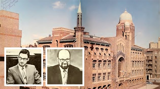 Accused : Yeshiva University High School for Boys, where George Finkelstein (left inset) and Macy Gordon (right inset) are alleged to have had inappropriate sexual contact with students, is located in Manhattan. Both men deny the charges. These images were taken from the 1970 Elchanite Yearbook.