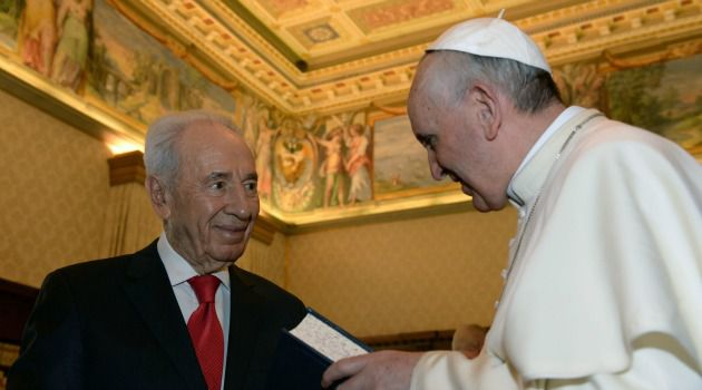 Next Time in Jerusalem: Pope Francis meets with Israeli President Shimon Peres at the Vatican.
