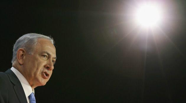 Benjamin Netanyahu speaks at AIPAC conference in Washington on Monday.