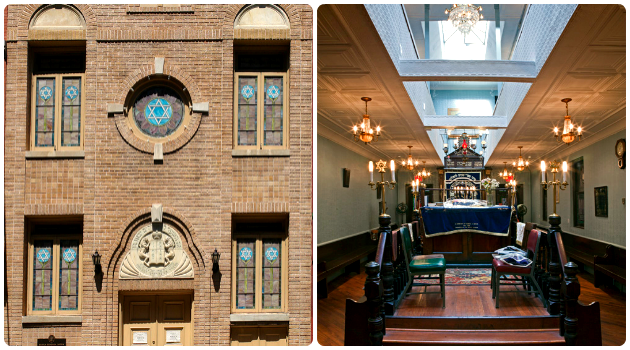 Exterior and interior of Kehila Kedosha Janina synagogue.
