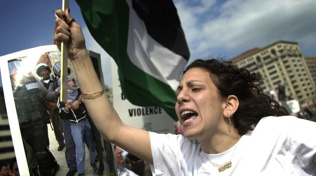 A member of Students for Justice in Palestine protests in Washington, D.C.