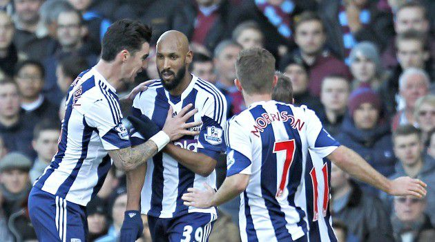 Controversial Salute: Nicolas Anelka, a French striker for the West Bromwich Albion team, celebrates a goal. He later flashed the ?quenelle,? a gesture reminiscent of the Nazi salute.