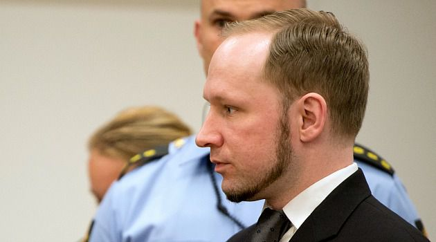 Birds of Feather: Norweigian mass killer Anders Breivik, shown here in court, has been arrested after his wife tried to buy guns in France.