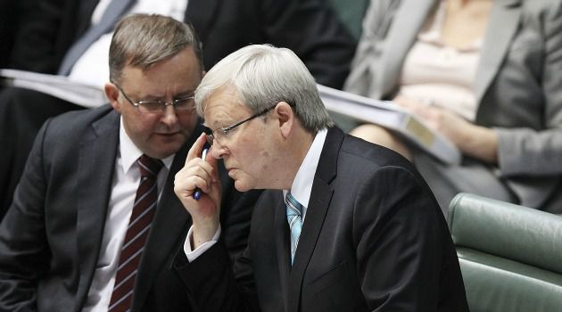 Friend of Palestinians: Australian Prime Minister Kevin Rudd chats with new deputy Anthony Albanese, left. The leftist leader helped found a Palestinian support group in the parliament.
