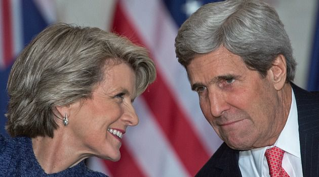 Julie and John: Australian foreign minister Julie Bishop chats with Secretary of State John Kerry. The new Down Under government has taken a stridently pro-Israel stand, which has even angered some liberal Jews.