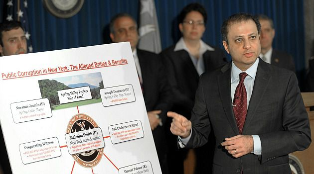 Corruption Probe: U.S. Attorney Preet Bharara outlines the wide-ranging corruption sting that felled several top New York politicians. A lynchpin in the case was a Jewish developer who helped reel in the elected officials.