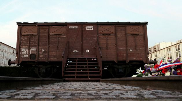 Solemn Memento: A railroad box car commemorates the deportation of Jews from France to Nazi death camps.