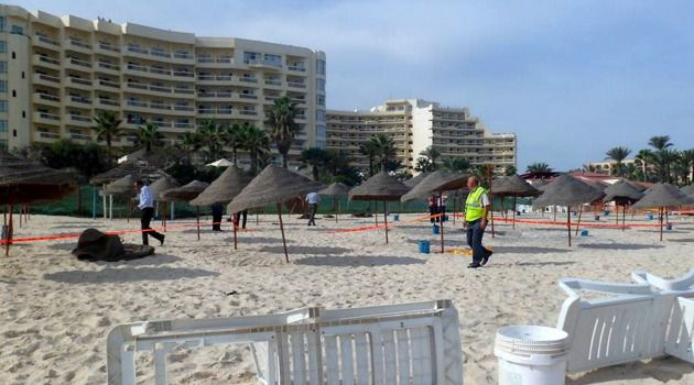 Restive: Police patrol a beachfront hotel in Djerba after 2013 bomb attempt. A stabbing has rocked the tourist island just weeks ahead of an annual Jewish pilgrimage.