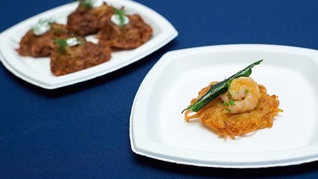 Unlikely Latke: Garden Court Café's potato pancake with shrimp isn't showing up at a Hanukkah party anytime soon.
