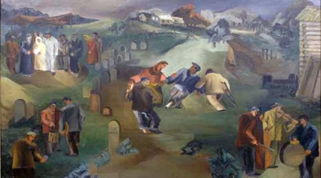 In Sickness and in Health: Leon Garland?s 1932 painting ?Wedding in the Cemetery? is based on an old legend that if orphans marry in a cemetery during a cholera epidemic, their dead parents will intercede to stop the scourge.