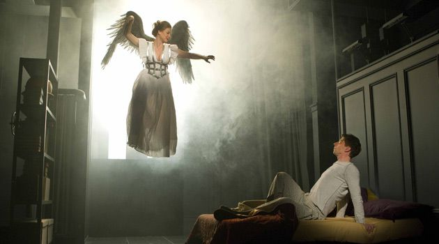 ?There Is No Zion Save Where You Are?: The Angel (Robin Weigert) appears to Prior Walter (Christian Borle) in the new re-stag- ing of ?Angels in America.?