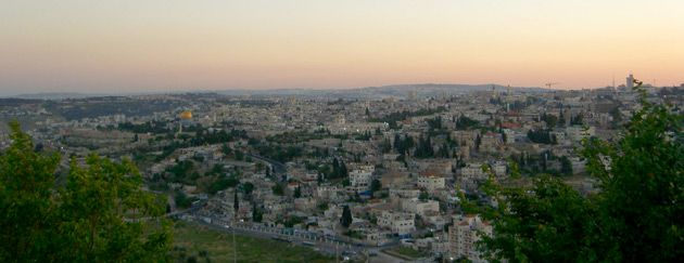 Where Judea Starts: Jerusalem and part of the West Bank at dusk.