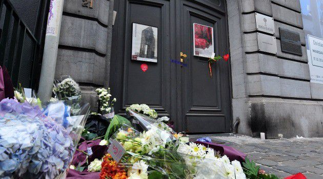 A makeshift memorial grows outside the Jewish Museum in Brussels, where an anti-Semitic gunman killed four people.