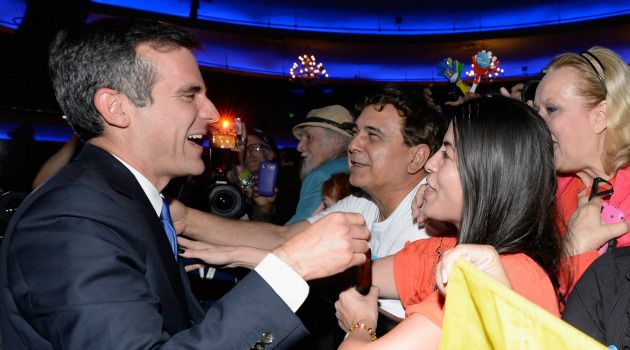 Big Lead: Eric Garcetti greets supporters after opening up a big lead in his race to become the first Jewish mayor of Los Angeles.