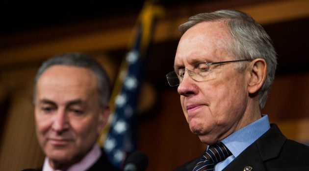 Now the Stick: Harry Reid and Chuck Schumer are among a bipartisan group of senators pushing for harsher measures against Iran.