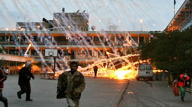 White Phosphorous rains down on a Gazan city during Operation Cast Lead.