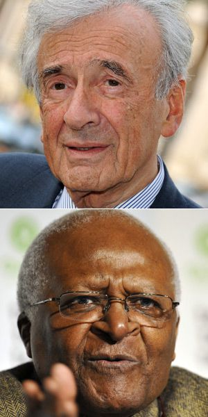 On different Sides: Nobel laureates Elie Wiesel (top) and Archbishop Desmond Tutu both wrote letters about the divestment bill.