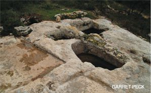 TRADITION: An ancient winepress at Kibbutz Tzuba in the Judean Hills.