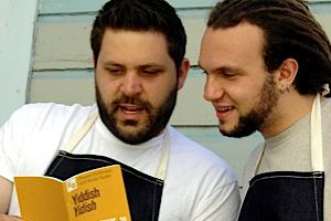 Wise Sons: Evan Bloom (left) and Leo Beckerman serve up nouveau deli sandwiches at their shop in San Francisco and soon at the city?s Jewish museum.