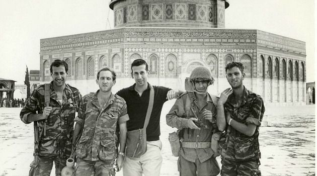 Fresh Off Boat: Five days after arriving in Israel, Abraham Rabinovich, center, found himself on the newly conquered Temple Mount in Jerusalem in 1967.