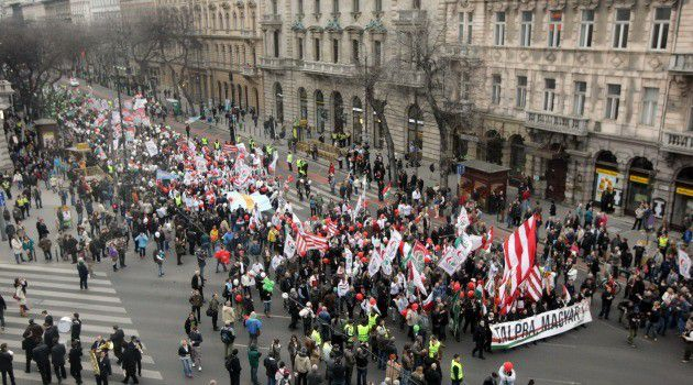 Members of the far right wing Jobbik Party march in Budapest.