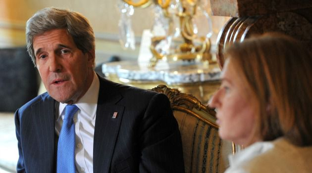 Peace Hopes: Secretary of State John Kerry meets with Israeli minister Tzipi Livni in Rome.