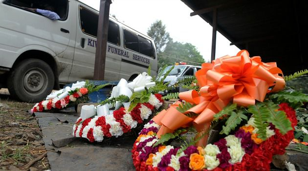 Nairobi?s Tears: Flowers pile up outside Nairobi?s main mortuary as Kenya begins three days of national mourning for the victims of the Westlands mall terror attack.