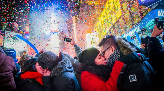 Happy Smooch Year: Couples ring in the new year with kisses in Times Square.