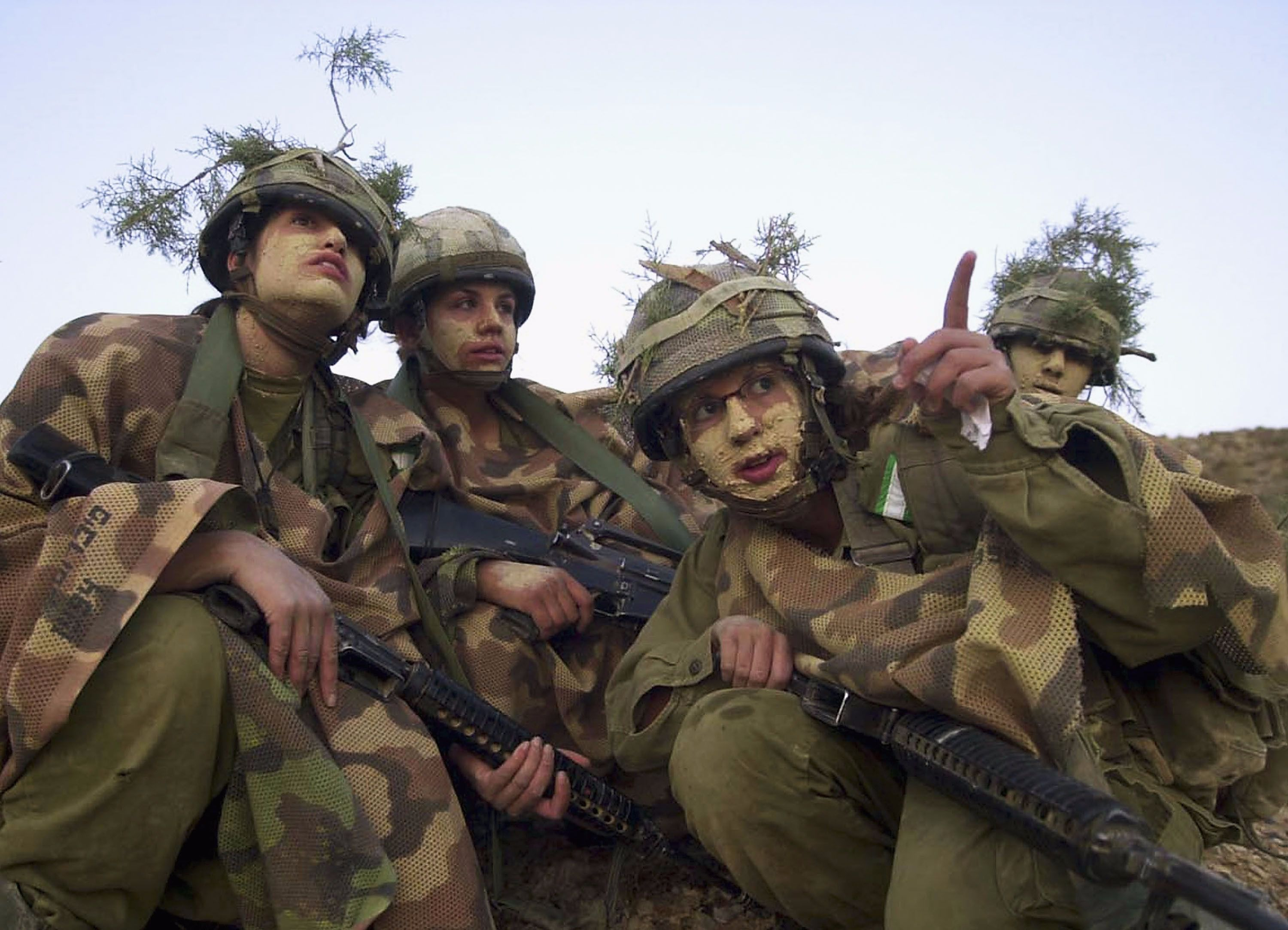 Israeli female soldiers in a training exercise.