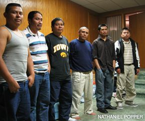 WITNESSES: Six men released from prison on October 14 share a two-bedroom apartment in Postville, Iowa. They are, from left, Elder Lopez, Jonas Ordonez, Jose Muh-Exan, Rigoberto Quiej, Gabriel Calicio and Mario Toma.
