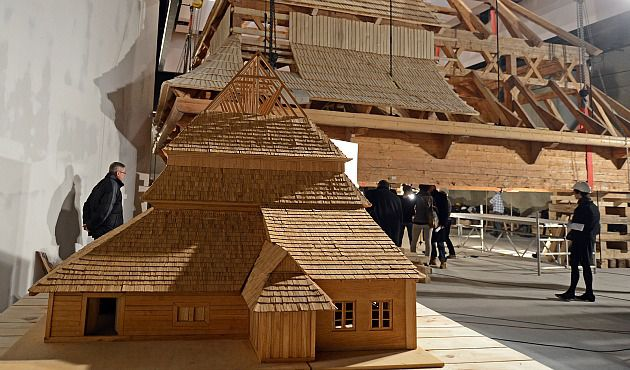 Stunning Detail: An intricate model of the 17th century wooden Gwozdziec Synagogue is set to go on display along with a complete reconstruction of its roof at Warsaw?s Museum of the History of Polish Jews.