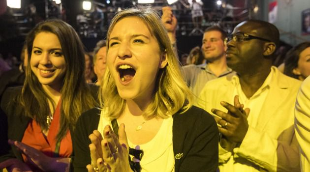 Supporters of Quebec?s Liberal Party celebrate its win in provincial elections.