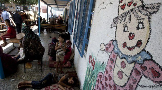 A U.N.-run shelter at a school in Gaza after it was attacked by Israel, killing more than a dozen people.