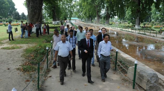 Garden Spot: The German ambassador to India tours site of planned concert led by famed conductor Zubin Mehta in the disputed Kashmir region.