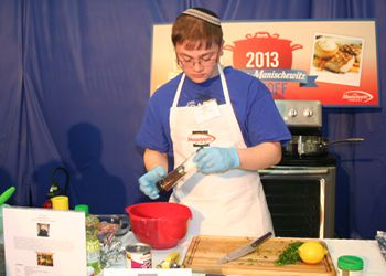 Aspiring chef and Kosher Cook-Off finalist Yitzi Taber at work.