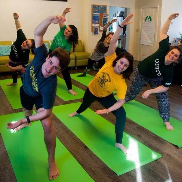 Jewish students do yoga at University of Vermont Hillel.